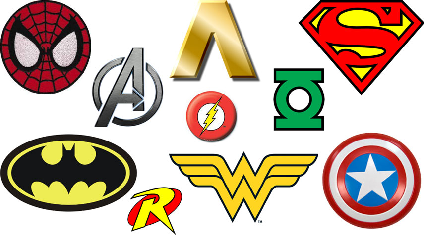 This is a graphic of Clever Superhero Logos Printable